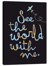 Stampa su tela  See the world map travel letters - Nory Glory Prints