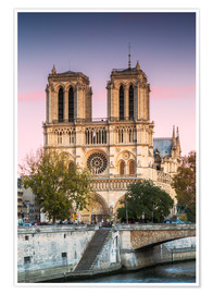 Poster Premium  Notre Dame cathedral at sunset, Paris, France - Matteo Colombo