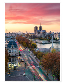 Poster Premium Notre Dame and city of Paris at dusk, France