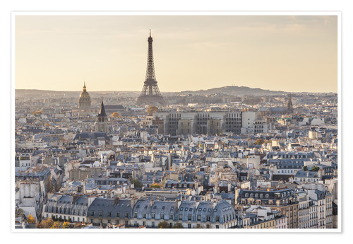 Poster Premium Eiffel tower and city of Paris at sunset, France