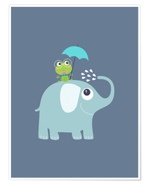 Poster Premium One frog and one elephant