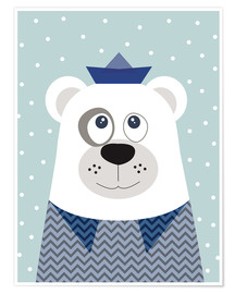 Poster Premium  Bear sailor nautical - Jaysanstudio