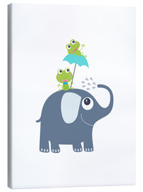 Stampa su tela  Frogs and elephant - Jaysanstudio