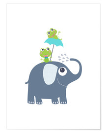 Poster Premium Frogs and elephant