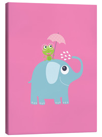 Stampa su tela  One frog and one elephant pink - Jaysanstudio