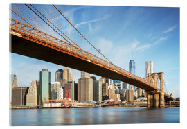 Stampa su vetro acrilico  Brooklyn bridge and Manhattan skyline at sunrise, New York city, USA - Matteo Colombo
