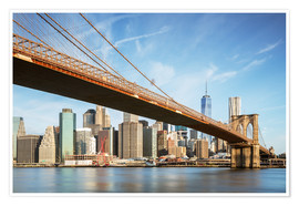 Poster  Brooklyn bridge and Manhattan skyline at sunrise, New York city, USA - Matteo Colombo