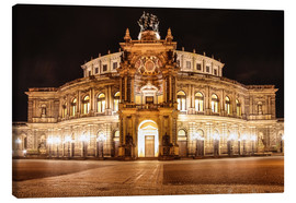 Stampa su tela  Saxon State Opera House in Dresden at night (Germany) - Christian Müringer