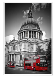 Poster Premium LONDON St. Paul's Cathedral and Red Bus