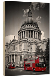 Stampa su legno  LONDON St  Paul's Cathedral and Red Bus - Melanie Viola