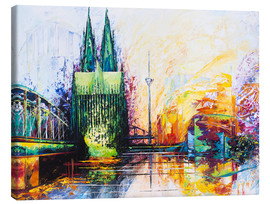 Stampa su tela  Cologne Cathedral Skyline colored - Renate Berghaus