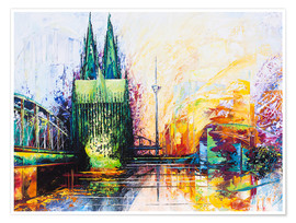 Poster Premium  Cologne Cathedral Skyline colored - Renate Berghaus