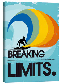Tela  Retro Surfer Design breaking limits art print - 2ToastDesign