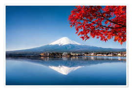 Poster Premium  Mount Fuji and Lake Kawaguchiko in autumn - Jan Christopher Becke