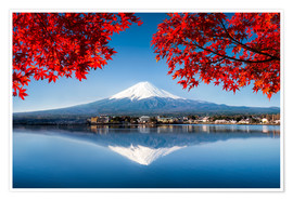 Poster Premium  Mount Fuji at the lake Kawaguchiko in Japan - Jan Christopher Becke