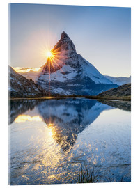 Stampa su vetro acrilico  Riffelsee and Matterhorn in the Swiss Alps - Jan Christopher Becke