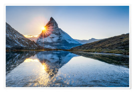 Poster Premium  Riffelsee and Matterhorn in the Swiss Alps - Jan Christopher Becke