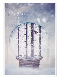Poster Premium Snowglobe with birch trees and raven
