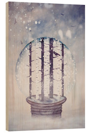 Stampa su legno  Snowglobe with birch trees and raven - Sybille Sterk
