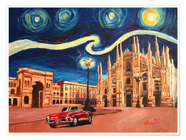 Poster Premium Starry Night in Milan Italy Oldtimer and Cathedral