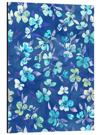 Alluminio Dibond  Grown Up Betty - blue watercolor floral - Micklyn Le Feuvre