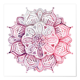 Poster Premium Burgundy Blush Watercolor Mandala
