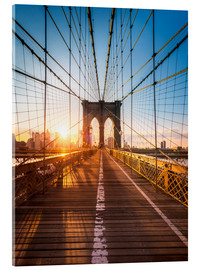 Stampa su vetro acrilico  Brooklyn Bridge in the sunlight in New York City, USA - Jan Christopher Becke