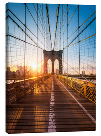 Stampa su tela  Ponte di Brooklyn alla luce del sole, New York City - Jan Christopher Becke