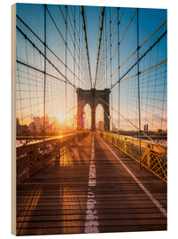 Legno  Brooklyn Bridge in the sunlight in New York City, USA - Jan Christopher Becke