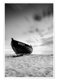 Poster Premium Lonely Boat - Black/White | Rügen | Germany