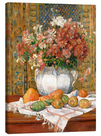 Stampa su tela  Still Life with Flowers and Prickly Pears - Pierre-Auguste Renoir