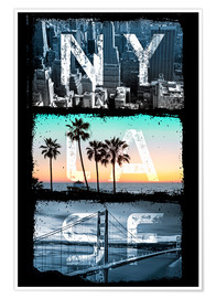 Poster Premium  New York, Los Angeles, San Francisco