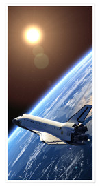 Poster Premium  Space shuttle in orbita