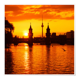 Poster Premium Berlin - Sunset Skyline