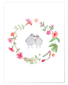 Poster Premium  Wreath with love birds - Verbrugge Watercolor