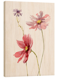 Legno  Cosmos flower and Cornflower - Verbrugge Watercolor