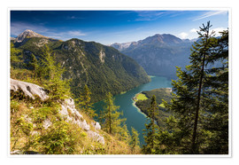 Poster Premium  St. Bartholomae at the Koenigssee at the foot of the Watzmann - Markus Ulrich
