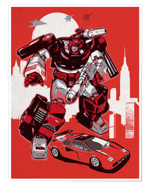 Poster  alternative sideswipe retro transformers art print - 2ToastDesign