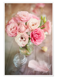 Poster  Romantic rose bouquet with feather