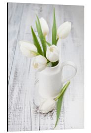 Stampa su alluminio  White tulips on whitewashed wood