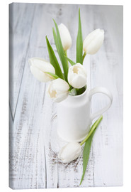 Stampa su tela  White tulips on whitewashed wood