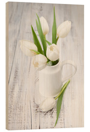 Stampa su legno  White tulips on whitewashed wood