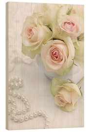 Stampa su legno  Pastel-colored roses with pearls