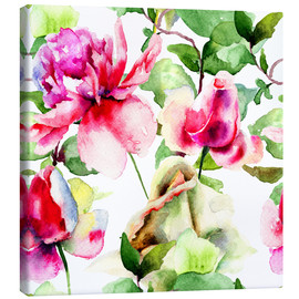 Stampa su tela  Roses Watercolor