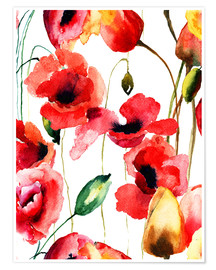 Poster Premium Poppy and Tulips flowers