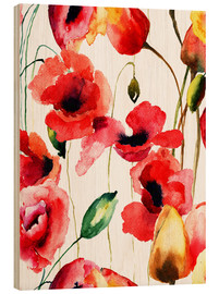 Stampa su legno  Poppy and Tulips flowers