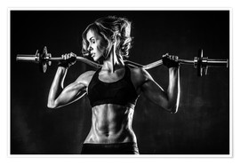 Poster  Sportswoman with a barbell