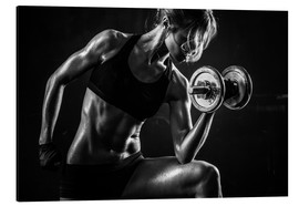 Alluminio Dibond  Sportswoman with dumbbells