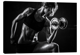 Tela  Sportswoman with dumbbells