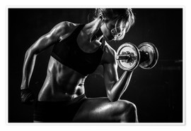 Poster  Sportswoman with dumbbells